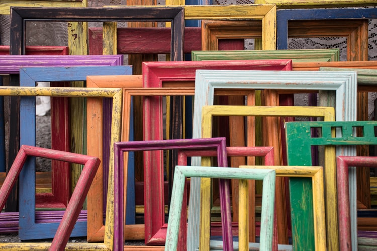 colorful wood picture frames